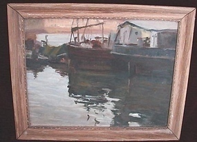 C.1930 GLOUCESTER HARBOR OIL ON PANEL OF SHIPS