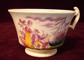 19TH CENTURY ENGLISH LUSTREWARE CUP OF SHIP SCENE