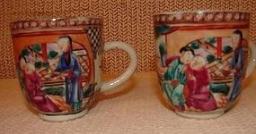 C. 1770 CHINESE EXPORT MANDARIN PALETTE DEMI-CUPS