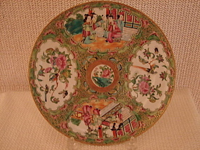 "C. 1840 CHINESE EXPORT ROSE MEDALLION 9 3/4"" PLATE"