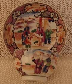 C.1770 CHINESE EXPORT MANDARIN PALETTE TEA BOWL/SAUCER