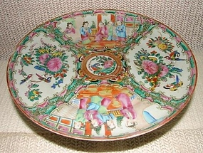 C. 1880 CHINESE EXPORT TAZZA/CAKE PLATE ROSE MEDALLION