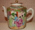 C. 1875 CHINESE EXPORT ROSE MEDALLION TEAPOT