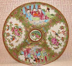 C. 1840 CHINESE EXPORT ROSE MEDALLION DINNER PLATE