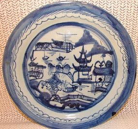 "C. 1890 BLUE CANTON DINNER PLATES 9 3/4"" DIAMETER"