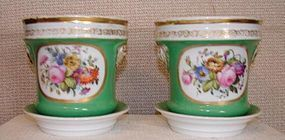 C. 1850 PAIR OF FINE ENGLISH CACHE POTS W/UNDERTRAY