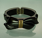 1940s Black Bakelite Brass Bow Form Hinged Bracelet