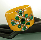 Chanel Attr Bakelite Gripoix Glass Maltese Cross Bangle