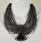 Ugo Correani Italy Glass Black Lucite Strass Necklace