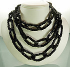 Glittering Black Glass Long 60 In French Chain Necklace