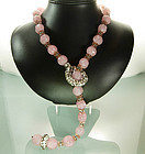 Stunning 1960s French Pink Glass Strass Drop Necklace
