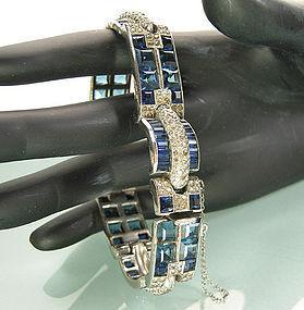 1940 French Art Deco Bracelet Blue Invisibly Set Stones