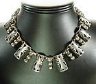 E BARENA Taxco Mexico Silver Bib Necklace Listed Mark