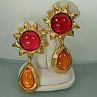 Edouard Rambaud Paris Earrings Pink Orange Poured Resin