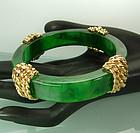 1967 Carven France Goldtone Metal Green Bakelite Bangle