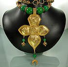 Huge Unsigned Cadoro Quatrefoil Green Beads Necklace