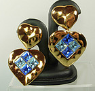 Yves Saint Laurent Heart Earrings Brilliant Blue Stones