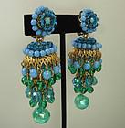 60s Huge Turquoise Glass Filigree Moghul Style Earrings
