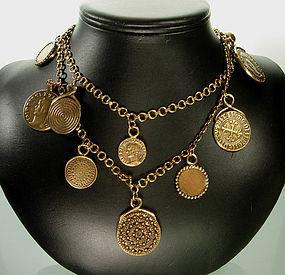 1980 Yves Saint Laurent Byzantine Coin Sautoir Necklace