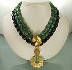 80s Yves Saint Laurent Drop Necklace Green Agate Beads