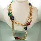 1960s Sautoir Huge Gripoix Poured Glass Beads, Strass