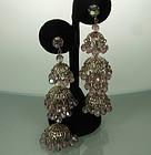 60s Huge Alexandrite Glass Filigree Moghul Earrings