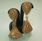 Statement French Champagne Strass 60s Long Earrings