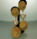 Huge Statement 1980s Shell Form Pearl Drop Earrings