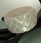1970s French Quilt Carved Pearly Lucite Wide Bangle