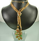 Gorgeous 60s French Poured Glass Long Drop Necklace