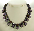 C 1960 Unsigned Countess Cis French Necklace Purples