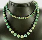 C 1900 Chinese Turquoise Graduated Beads Necklace
