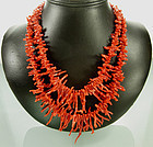 1940 Oxblood Red Coral Spezzati 2 Strand Long Necklace