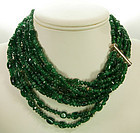 Sumptuous 9 Strand Carved Emerald Bead Silver Necklace