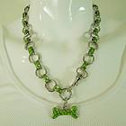 C 1990 Green Dotted Enamel Italian Modernist Necklace