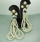 Luxe C 1990 Long Drop Faux Pearl Earrings