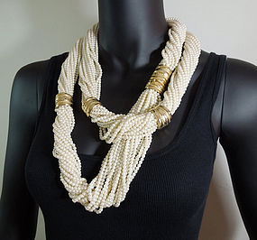 Huge 1980s Unsigned Cadoro Nomadic Style Pearl Necklace