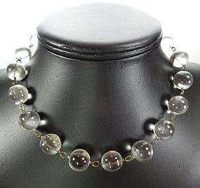 1920s Deco Rock Crystal Quartz Pools of Light Necklace