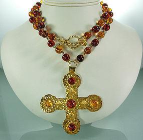 Dominique Aurientis Gripoix Glass Byzantine Necklace