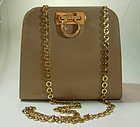 Ferragamo Light Tan Gancio Long Chain Strap Bag