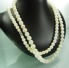 1940 Chinese Celadon Jade Graduated Bead 48 In Necklace