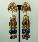Huge Statement Jewel Tones Poured Glass 70s Earrings