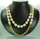 French Glass Pearls Chain 42 Inch Sautoir Attr Chanel