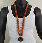 Chinese Carved Peach Pit Cinnabar Cloisonne Necklace