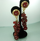 80s Genuine Carnelian 4 Inch Statement Earrings Lazuli