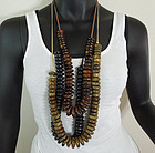 Set 3 Tribal Style Carved Wood Beaded 36 Inch Necklaces