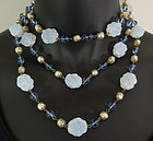 50s French Opaline Blue Pearl Glass Wired Sautoir 54 In