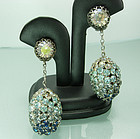 1960s Couture Blue Ombre Rhinestones Earrings: France
