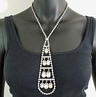 1960s Modern Huge Statement Strass Pearls Long Necklace