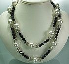 70s Statement Pearls Black Glass Strass 43 Inch Sautoir